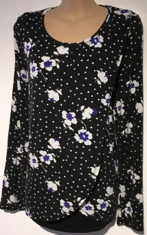 GEORGE MATERNITY BLACK FLORAL SPOTTED LONG SLEEVED TOP SIZE UK 12